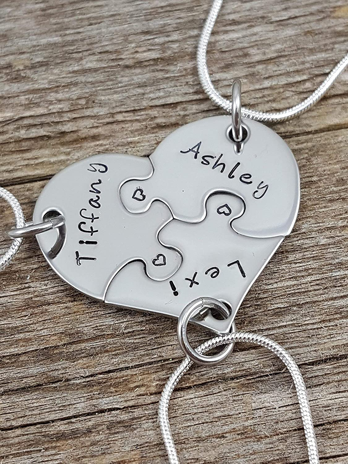 Best Friends Necklace set, 3 piece heart puzzle necklace set, Sorority sisters jewelry, Sister gifts, Hand stamped jewelry, Custom necklaces, Personalized jewelry.