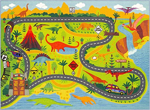 KC CUBS Playtime Collection Dinosaur Dino Safari Road Map Educational Learning Game Area Rug Carpet for Kids and Children Bedrooms and Playroom 3 3 x 4 7