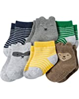 Carter's Baby-Boys Newborn Heather Terry Ribbed Socks (Pack of 6)