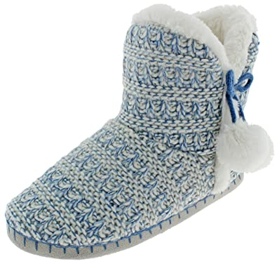 b1f45d7b4 Capelli New York Ladies Knit Indoor Slippers with Faux Fur Trim and Poms  Detail Blue Combo