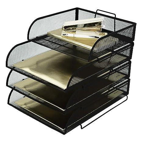 Amazon.com : Blu Monaco Stackable Paper Tray Desk Organizer   3 Tier  Stackable Letter Tray Plus Accessory Tray   Black Metal Mesh Document Tray  : Office ...