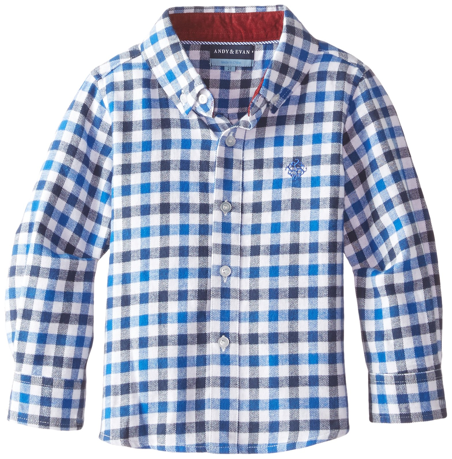 Andy & Evan Boys' Little Blue Checkered Flannel Shirt, 7 Years