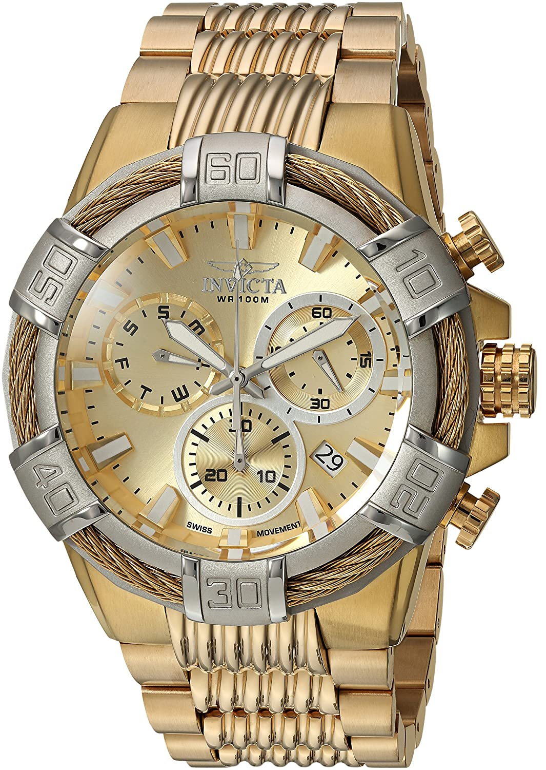 Amazon.com: Invicta Mens Bolt Quartz Watch with Stainless-Steel Strap, Gold, 16 (Model: 25868: Watches