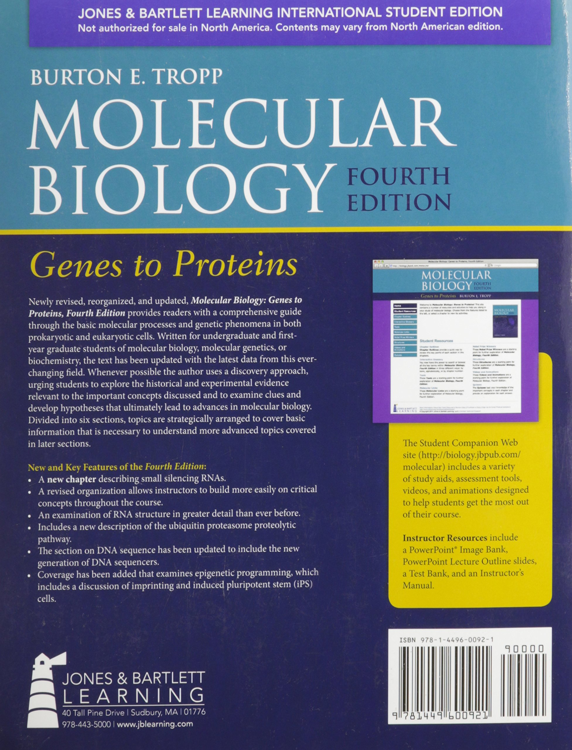 Molecular Biology: Genes to Proteins by Burton E. Tropp
