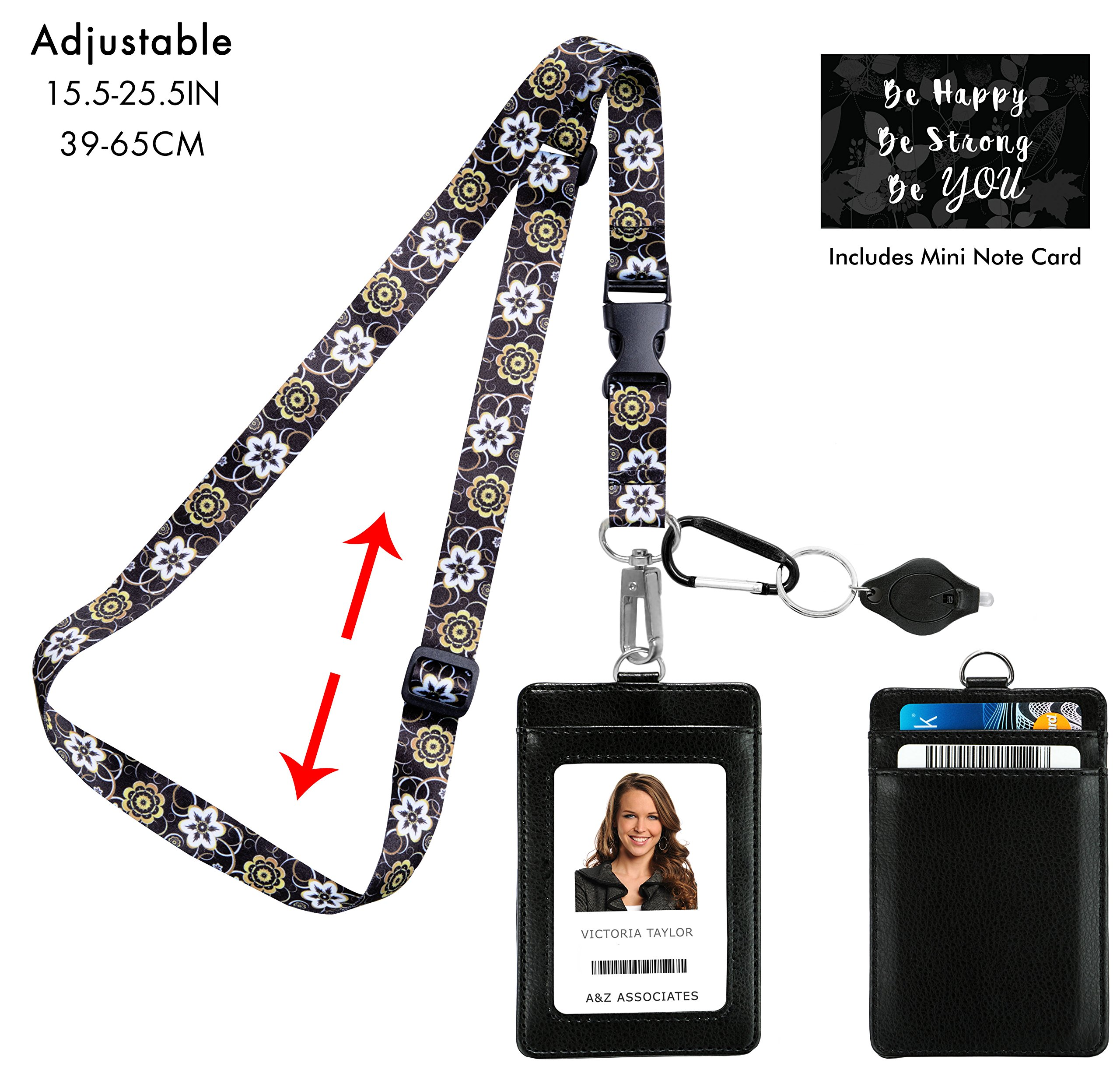 Abstract Gold and Black Adjustable Lanyard with PU Leather ID Badge Holder. 3 Card Pockets. Note Card. Carabiner Keychain Flashlight. Adjustable 15.5''-25.5''(39-65CM)