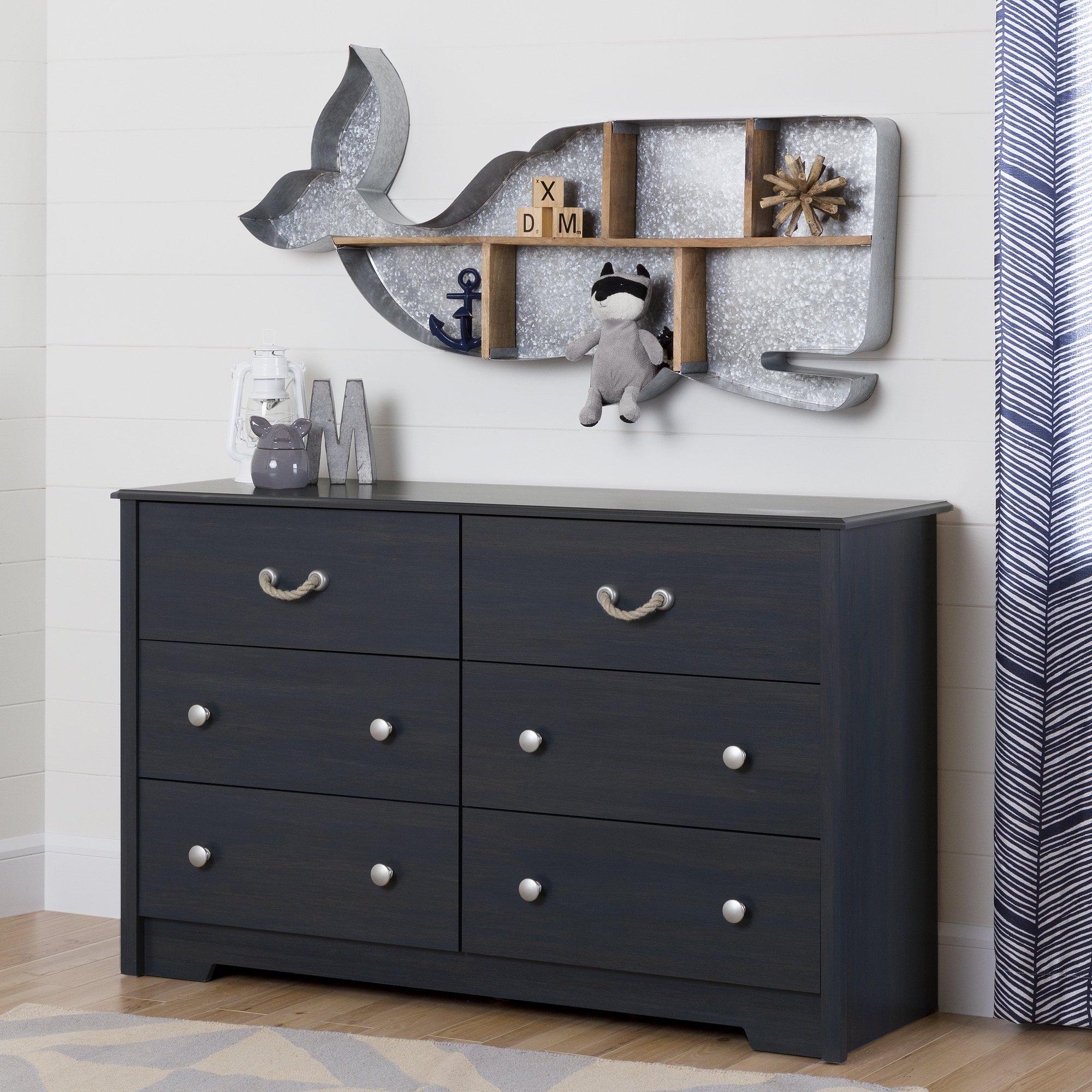 South Shore Aviron 6-Drawer Double Dresser, Blueberry