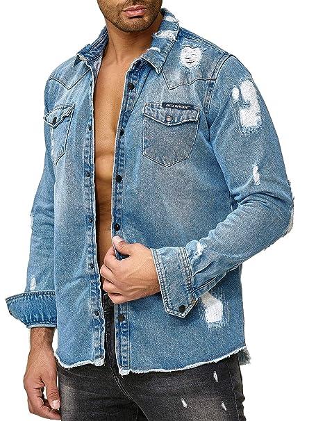huge discount b3305 73d6b Red Bridge Uomo Manica Lunga Camicie Retro di Jeans ...