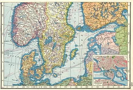 Cartina Della Norvegia Da Stampare.Scandinavia Norvegia Svezia South Denamrk Estonia Con Inserto 1920 Stockholm Stile Antico Con Motivo Cartina Geografica Scandinavia Amazon It Casa E Cucina