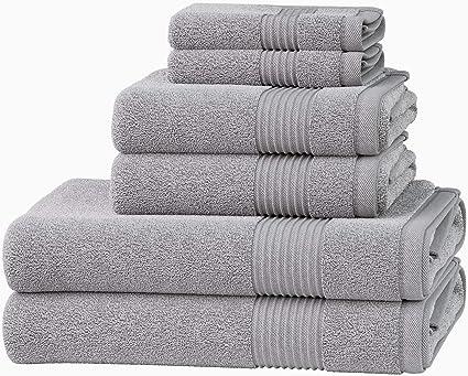 Luxury 100 Egyptian Cotton 6 Pc Towel Bale Set Bathroom Towels Hand Bath Towel Silver Amazon Co Uk Kitchen Home