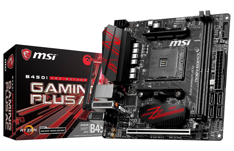 9c4743fd46d Amazon.com: MSI Performance Gaming AMD Ryzen 1st and 2nd Gen AM4 M.2 USB 3  DDR4 HDMI Display Port Mini-ITX Motherboard (B450I Gaming Plus AC):  Computers & ...