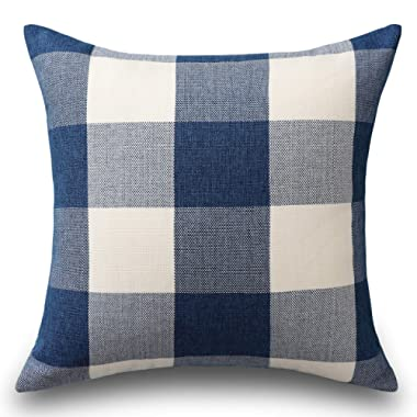 HOME BRILLIANT Buffalo Checkered Plaids Throw Pillow Covers Decorative Euro Pillow Cover for Bed, 26 x 26 inch(66 cm), Navy Blue