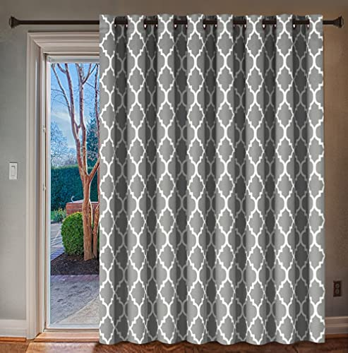 H.VERSAILTEX Extra Wide Blackout Curtain 100×96 Inches Thermal Insulated Curtain for Sliding Glass Door -Grommet Top Patio Door Curtain – Moroccan Tile Quatrefoil Pattern, Dove and White