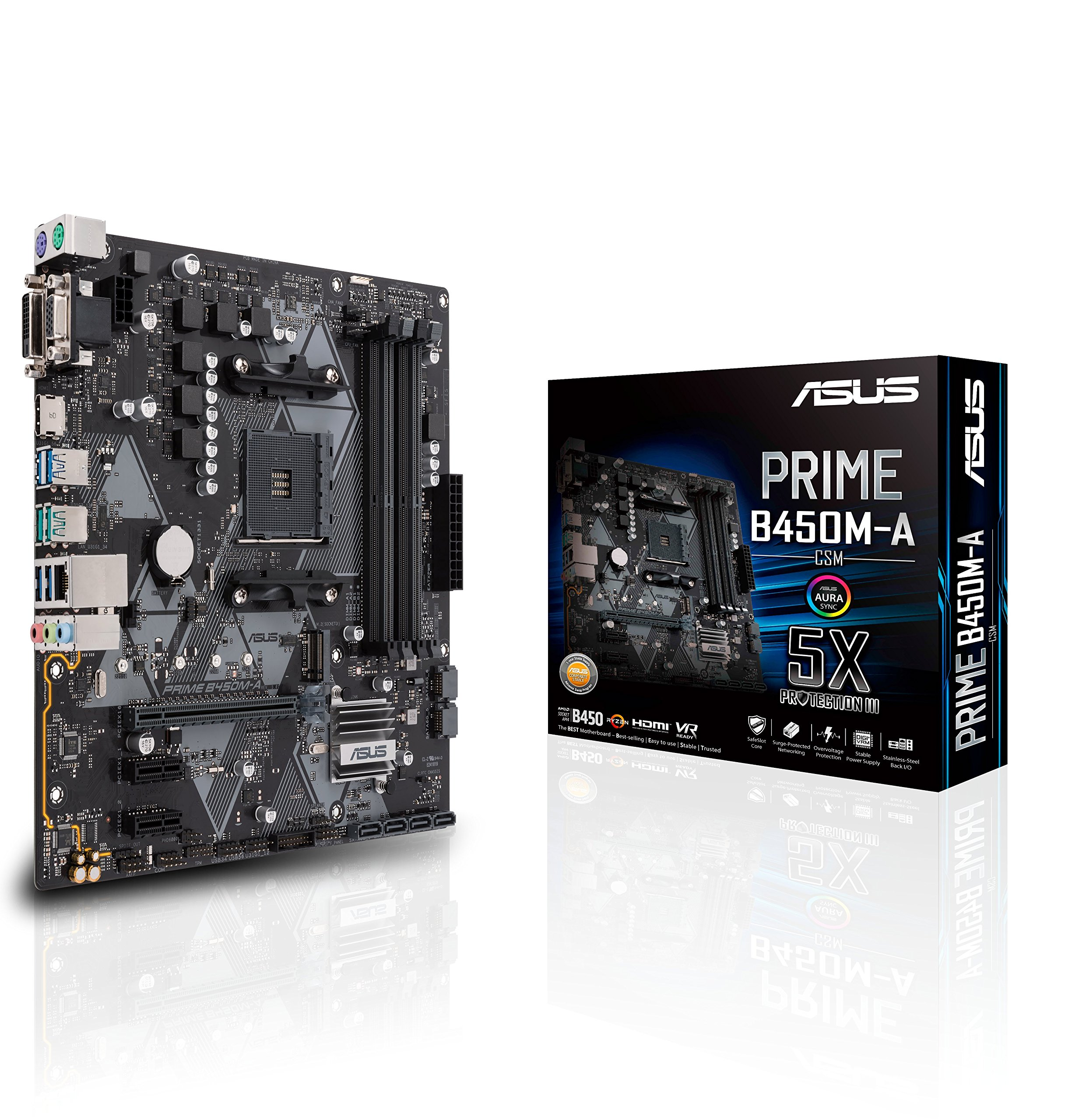 Asus Prime B450M-A/CSM AMD Ryzen 2 AM4 DDR4 HDMI DVI VGA M.2 USB 3.1 Gen2 mATX Motherboard by ASUS