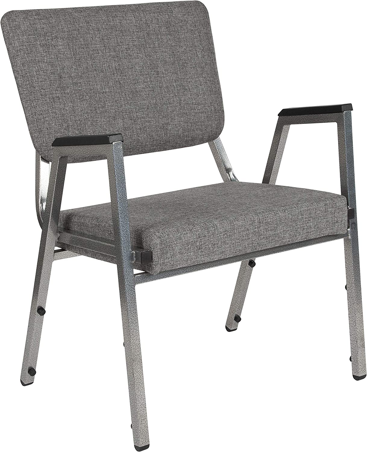 Flash Furniture HERCULES Series 1500 lb. Rated Gray Antimicrobial Fabric Bariatric Medical Reception Arm Chair with 3/4 Panel Back