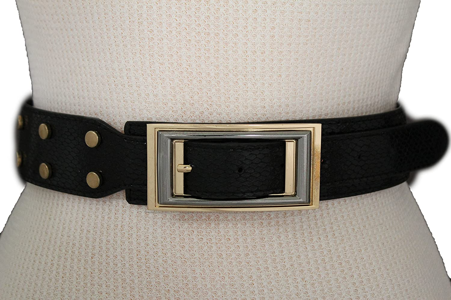New Women Fashion Snake Skin Stamp Belt Black Stretch Waistband Gold Buckle S M