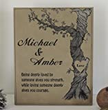 3rd Anniversary Tan Leather Personalized Poem and Wedding Date