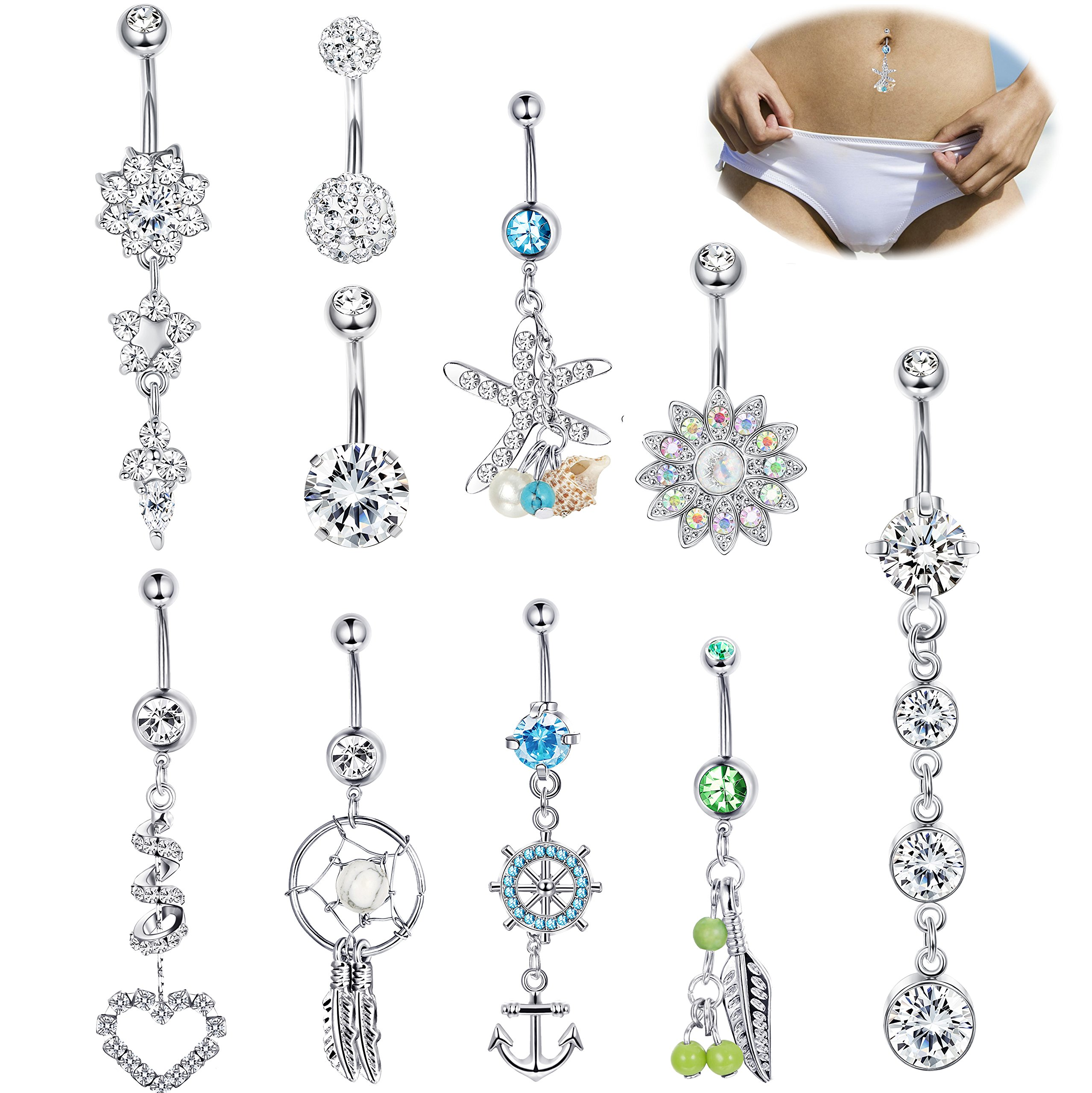 Jstyle 4 Pcs Stainless Steel Dangle Belly Button Rings Navel for Women Curved Barbell Piercing 14G CZ Piercing Set (F:10 Pcs Silver-tone)