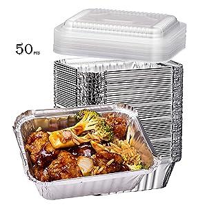 Elite Selection 1lb Aluminum Foil Pans – Reusable and Disposable Foil Pans – Stackable Foil Pans with Plastic Lids – Oven & Freezer Safe – 50 Piece Set (1LB Plastic Lids)