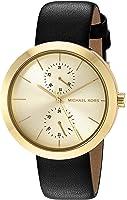 Michael Kors Women's Garner Goldtone And Black Leather Multifunction Watch