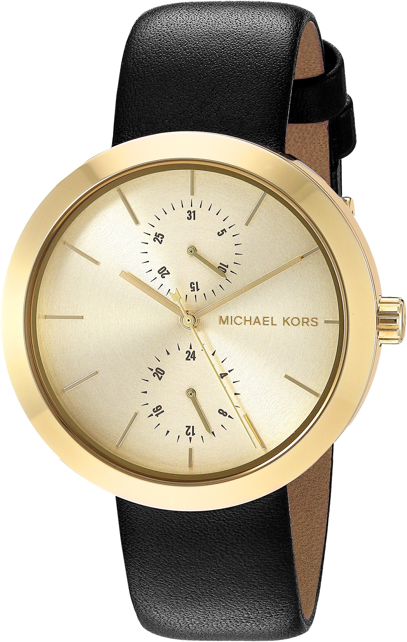 Michael Kors Women's Garner Goldtone And Black Leather Multifunction Watch