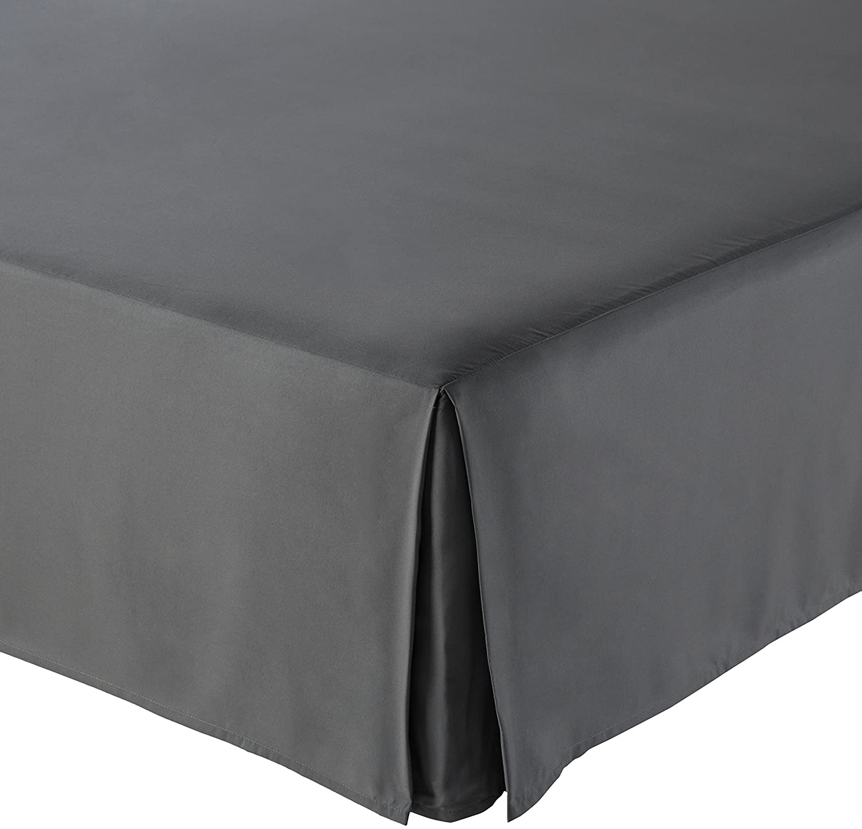 AmazonBasics Pleated Bed Skirt - Full, Dark Grey