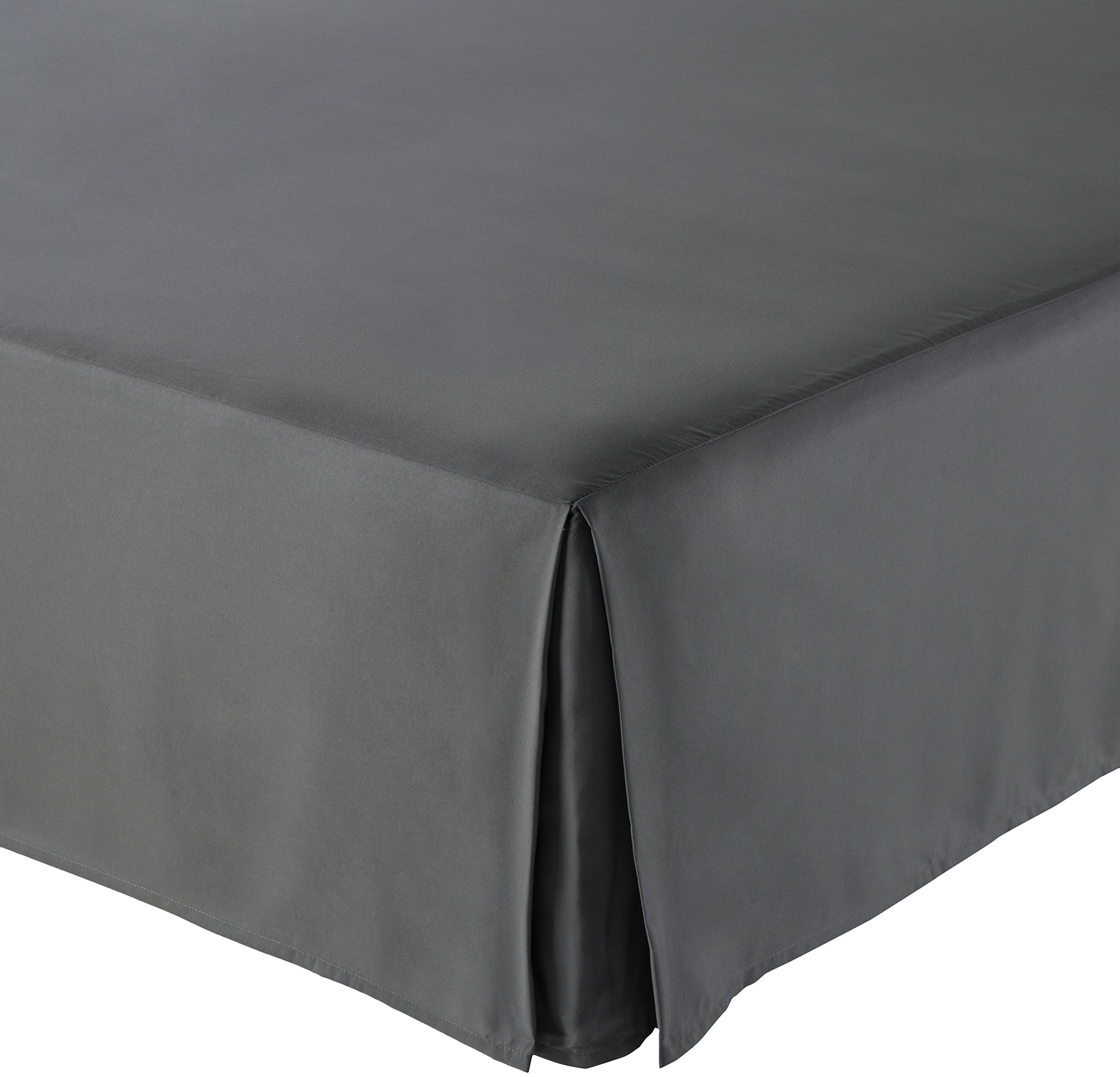 AmazonBasics Pleated Bed Skirt - Queen, Dark Grey