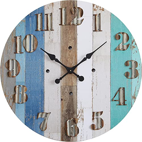 Creative Co-op Multicolor Wood Wall Clock with Corrugated Metal Numbers