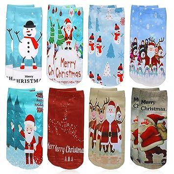 Howaf 8 Pares Navidad Calcetines de algodón Corte bajo Calcetines Tobilleros Calcetines Ocasionales Invierno Calcetines termicos para Unisex Mujer niños: ...