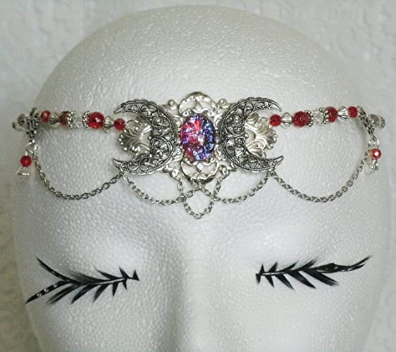 Amazon.com  Triple Moon Dragons Breath Fire Opal Circlet handmade ... 05278cf39e4