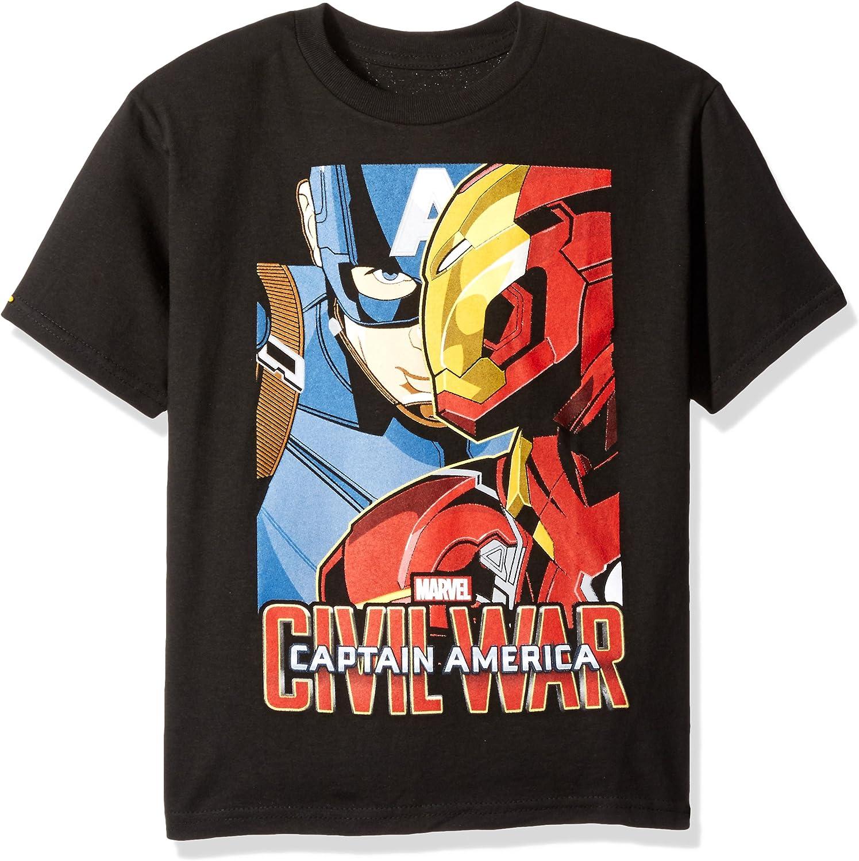 Marvel Big Boys Captain America and Iron Man Civil War T-Shirt