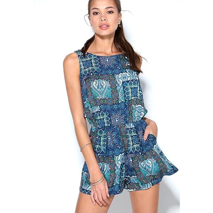 VENCA Mono Mujer Pantalón Corto Estampado Patchwork sin Mangas by Vencastyle,Azul/Estampado,