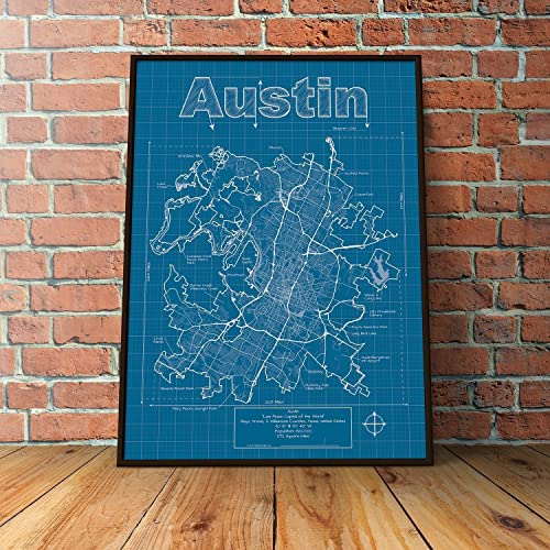 Amazon austin texas map blueprint style handmade austin texas map blueprint style malvernweather Image collections