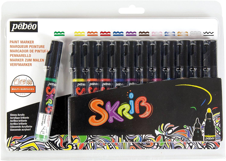 Multicolore 18,3 x 2,1 x 25,7 cm PEBEO 371106 Set SKRIB Paint 12 MARQUEURS Acrylique Peinture