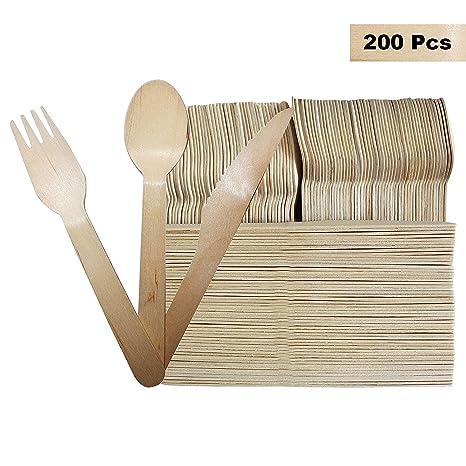 Set Cubertería Desechable 200 Piezas - Tenedores (100), Cucharas (50) y