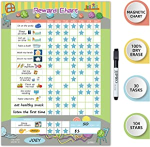 """Magnetic Bahavior Chart for Kid at Home, Resuable Chore Chart for Kid, Reward Chart for Kids Behavior. Each Set Includes 30 tasks, 104 Stars, and one 11"""" x 14.5"""" Magnetic Chart- Green"""