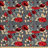 Ambesonne Poppy Fabric by The Yard, Abstraction of a Growing Floral Garden Leaves Botanical Modern Nature Display, Decorative Fabric for Upholstery and Home Accents, 1 Yard, Grey Red Beige