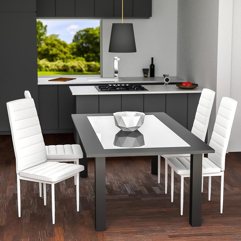 TecTake Set di 4 sedie per sala da pranzo 41x45x98,5cm bianco ...