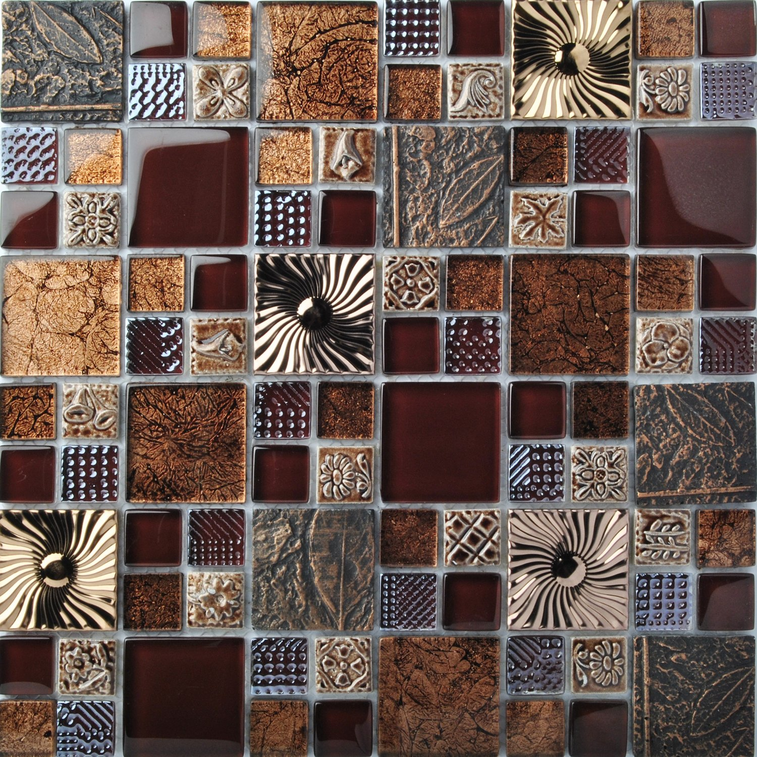 Special Carving Mosaic Art Accent Tile Red Brown Color Glass Wall Backsplash Tiles Rose Gold Metal Kitchen Bath Walls Decor TSTFLY16 (5 Square Feet) by BLUJELLYFISH