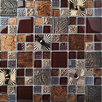 Special Carving Mosaic Art Accent Tile Red Brown Color Glass Wall