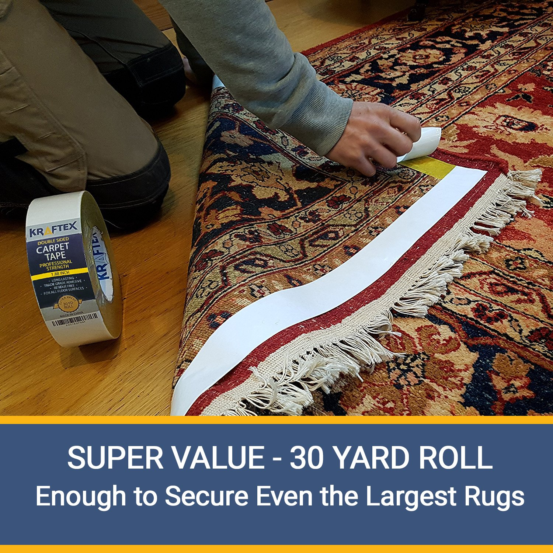 Runners Tile for Rugs Indoor Gripper Tape Double Sided Adhesive Grips Hardwood Laminate Floor Anti Slip Non Skid Technology Pads Original Carpet Tape 30ft Roll Mats Works on Any Floor 30ft