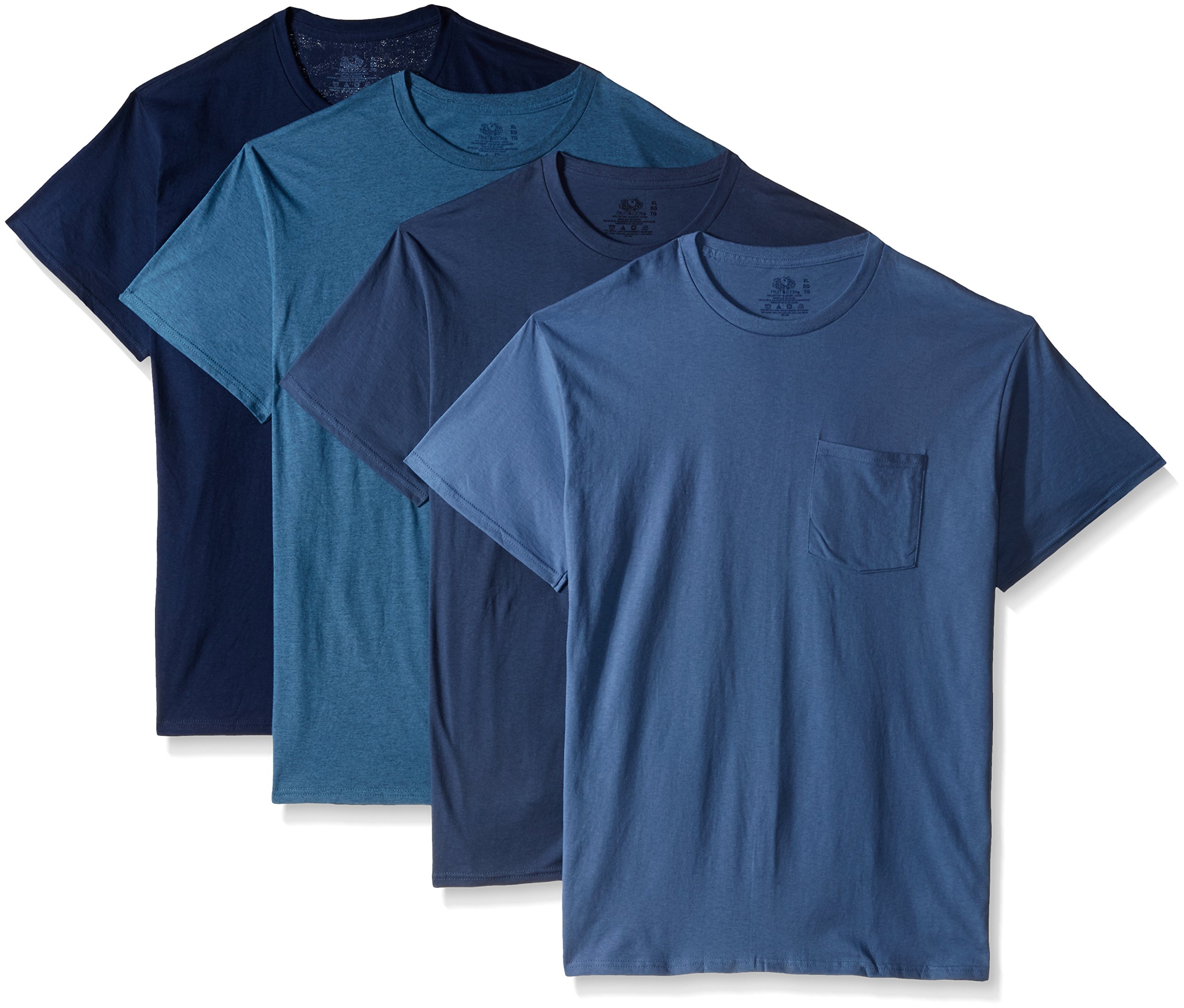 Fruit of the Loom Men's Pocket Crew Neck T-Shirt - XX-Large - Assorted Blues (Pack of 4)