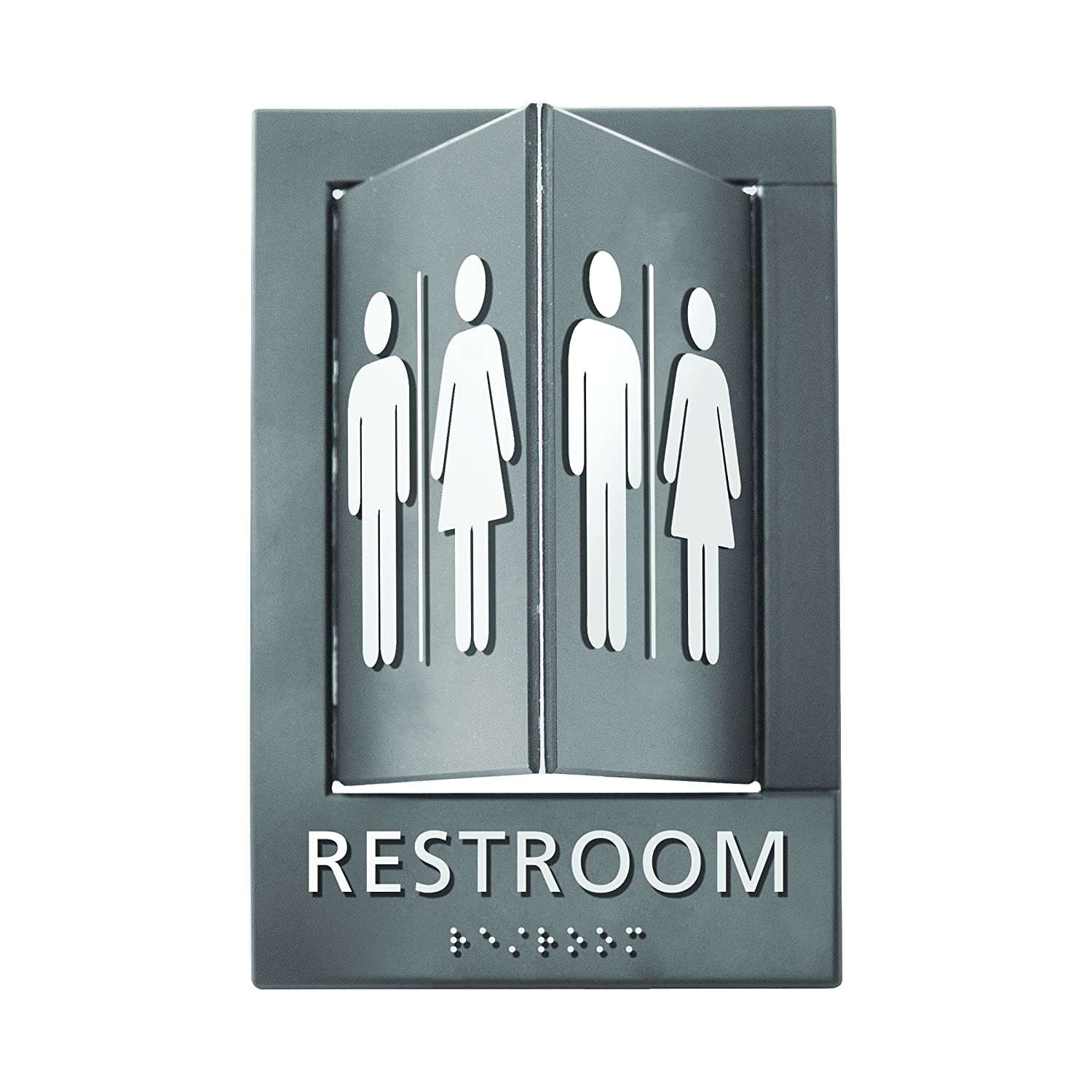 Advantus Pop-Out ADA Signs, 6 x 9 Inches, Gray/White, Restroom (91098)
