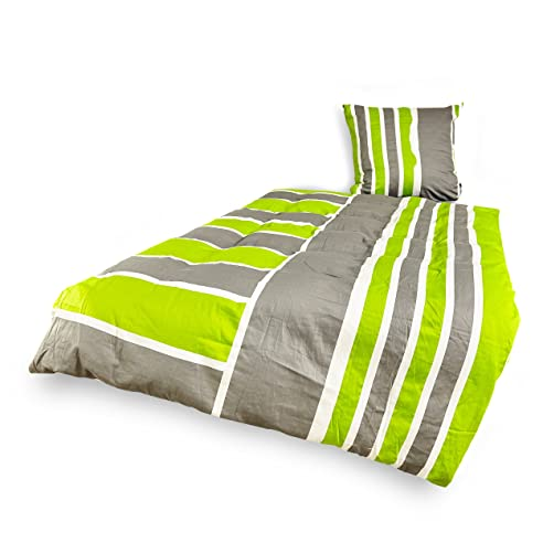 Lumaland Premium Mako Satin Bettwäsche 200x220 Cm Und 2 Kopfkissenbezüge  80x80 Cm Motiv Green Florence