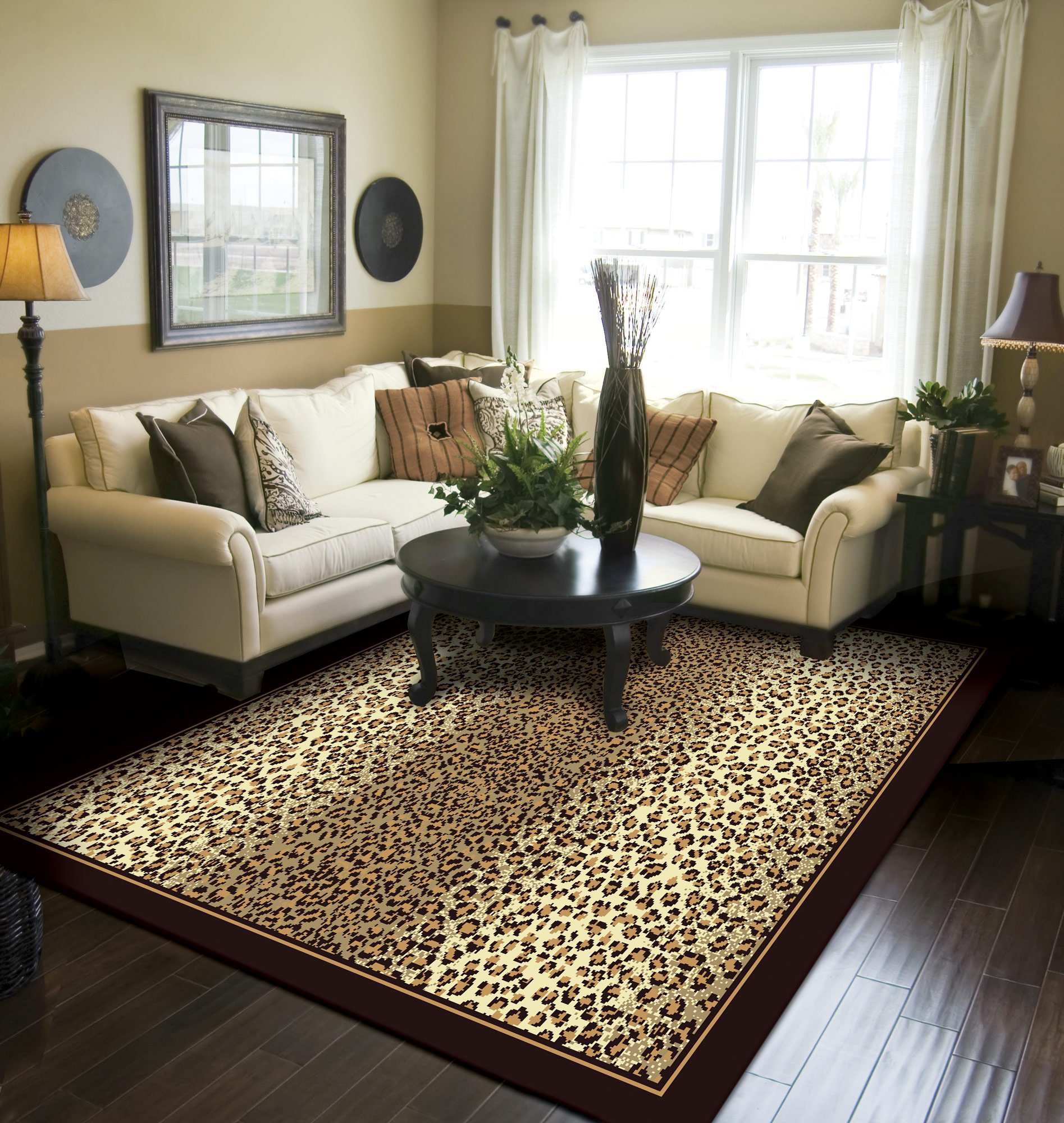 Modern Area Rug Brown Cheetah Leopard Large Rugs For Living Room 8x10 Clearance Under 100