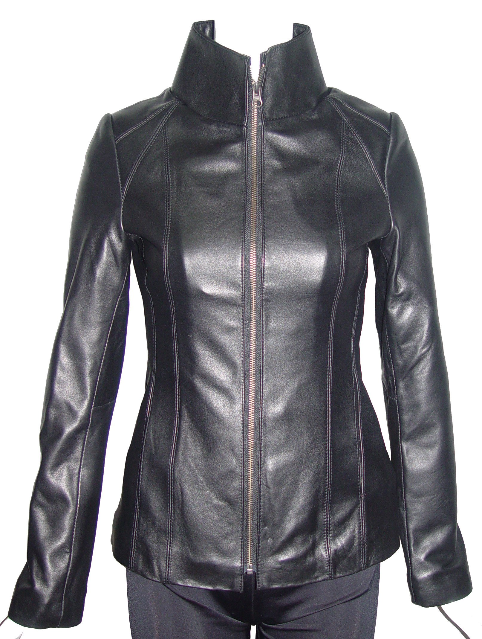 Paccilo Women Larger PLUS & ALL SIZE 4160 Leather Moto Jacket Open Bottom Zip Front
