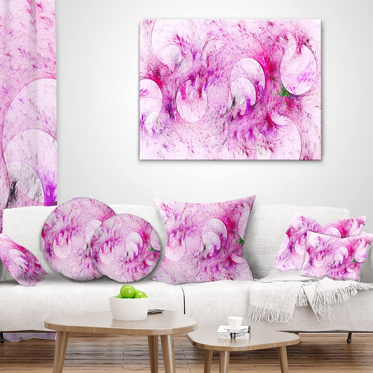 Throw Pillow x 16 in Designart CU16202-16-16 Pink White Fractal Glass Texture Abstract Cushion Cover for Living Room Insert Printed On Both Side Sofa