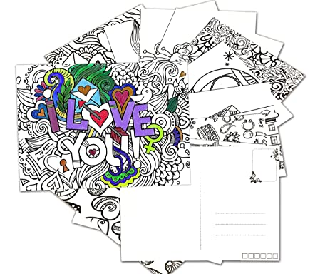 Amazon.com : N-Green Coloring Greeting Cards Postcards Stress ...