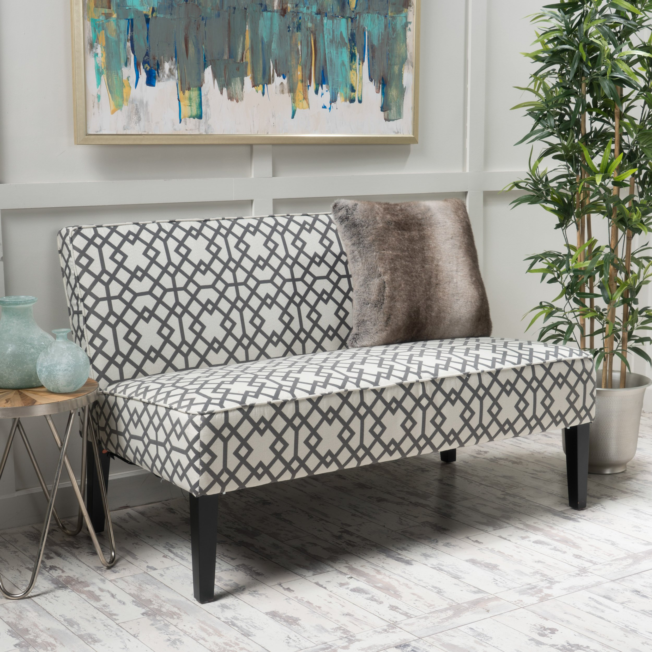 Christopher Knight Home 299747 Charlotte Grey Geometric Patterned Fabric Love Seat by Christopher Knight Home
