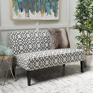 Christopher Knight Home 299747 Charlotte Grey Geometric Patterned Fabric Love Seat