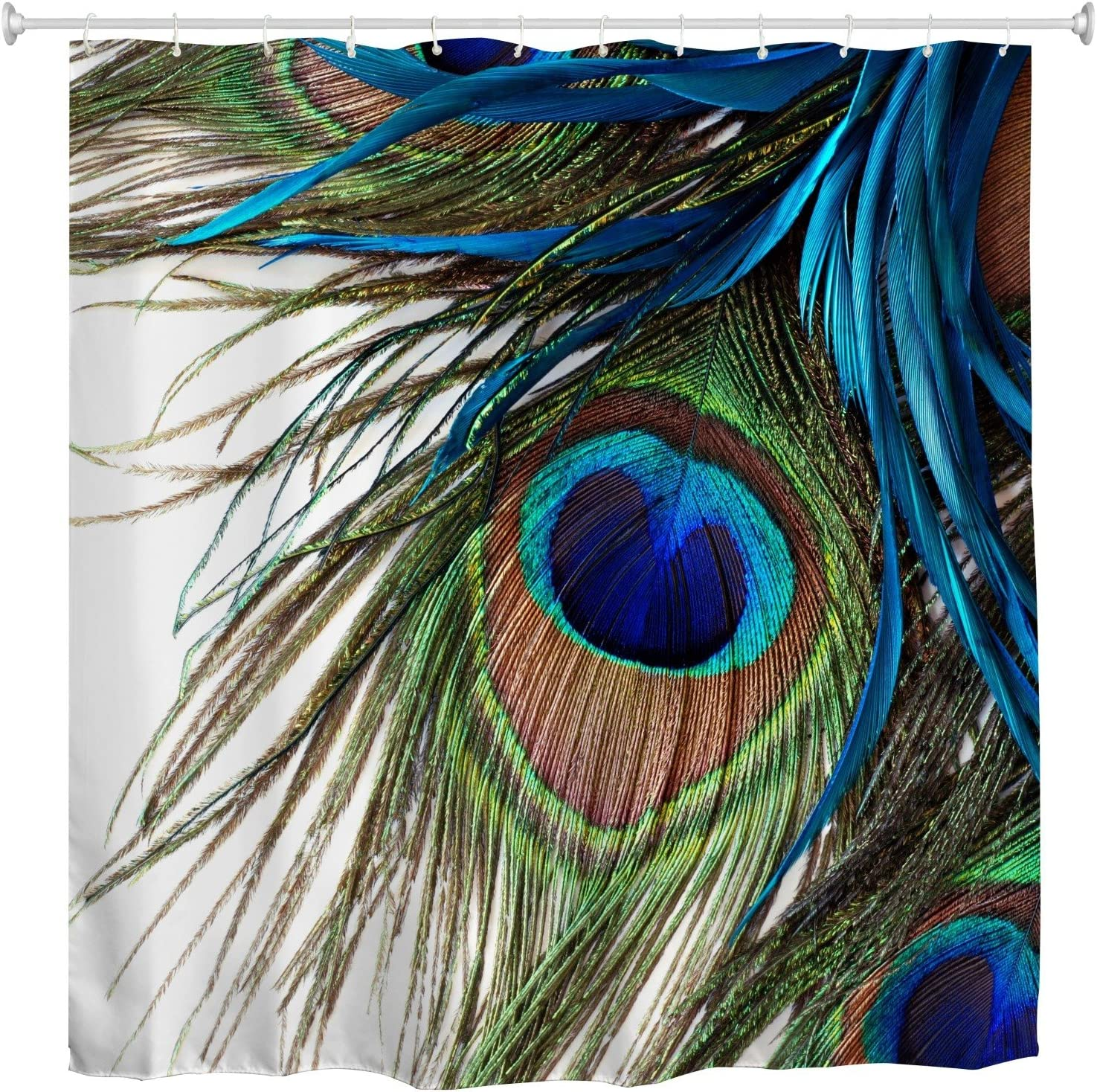 Goodbath Peacock Shower Curtain,Peacock Feather Eye Waterproof Fabric Bathroom Shower Curtains,72 x 72 Inch, Colorful